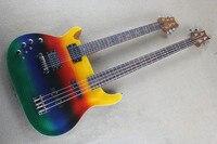 Бесплатная доставка Новый Одежда высшего качества левой двойная Радуга шеи разноцветные 6 строка Гитары 4 Строка bass1117