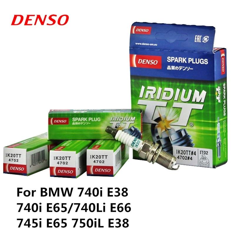 4 pièces/ensemble DENSO Bougie D'allumage De Voiture Pour BMW 740i E38 740i E65/740Li E66 745i E65 750iL E38 Iridium Platine IK20TT