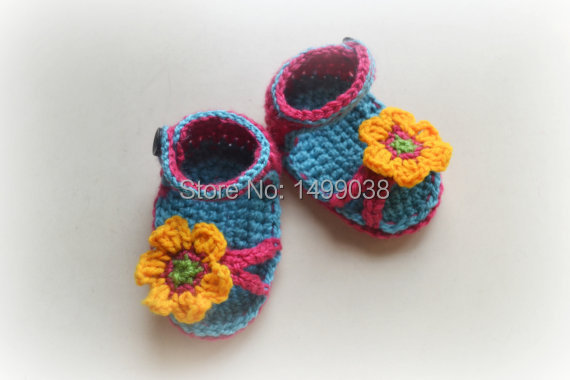 crochet baby sandals handmade newborn baby slippers blue and pink baby shoes