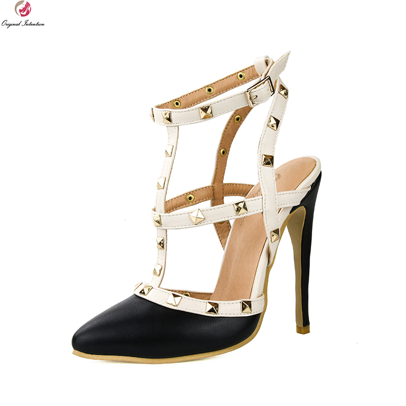 Original Intention Popular Women Sandals Pointed Toe Thin Heels Elegant Black White Red Orange Shoes Woman Plus US Size 4-15 hot selling sexy sloid thin heels sandals woman new desig lace red white black sandals peep toe elegant for women free sipping
