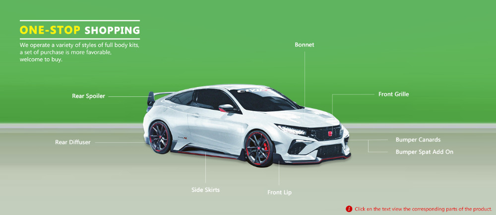 Cuztom Tuning for 2016-2018 Honda Civic FK8 Type-R Style ADD-ON ...