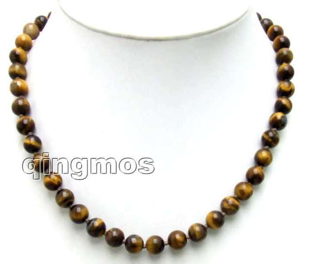 """Small 6mm Round brown Natural Tiger's Eye 17"""" NECKLACE -nec5648 Free ship especial effect for sleep"""