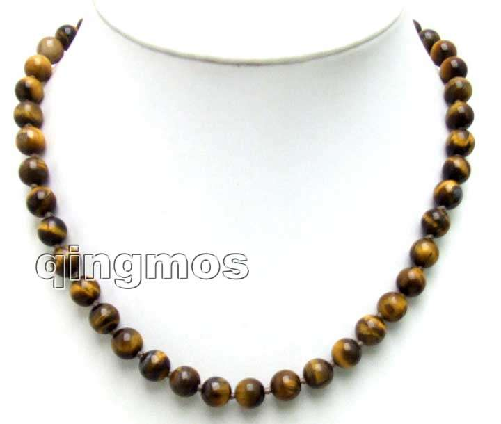 Small 6mm Round brown Natural Tiger's Eye 17 NECKLACE -nec5648 Free ship especial effect for sleep
