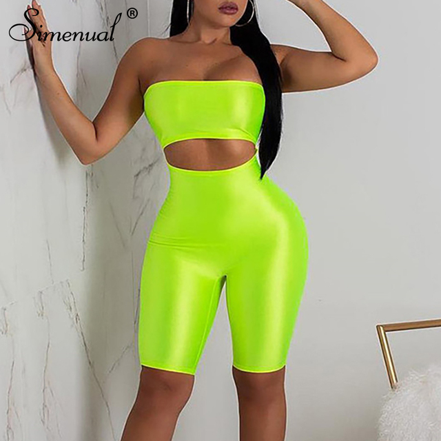 663d0253838 Simenual Off shoulder cut out playsuits women wrapped chest push up biker  shorts rompers neon color backless fitness jumpsuits