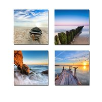 Wall Painting Boat Painting Sea Beach Painting 4 Piece Sunset Painting Wall Art Wall Decor For