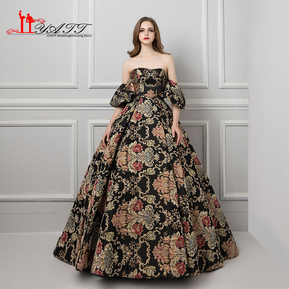 LIYATT 2018 Arabic Vintage Hot Selling Black and Gold Flowers Ball Gown  Luxury Puffy Formal Evening Prom Dresses Custom Made a1ab3f727f41