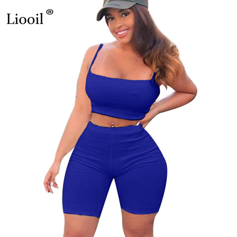 Liooil Sexy Two Piece Spaghetti Strap Rompers Womens Jumpsuit Shorts Sleeveless Strapless Black White Party Plus Size Playsuits