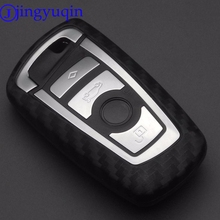 Jingyuqin 2 3 4 Btns węgla silikonowy samochód klucz skrzynki pokrowiec na BMW 520 525 f30 f10 F18 118i 320i 1 3 5 7 serii X3 X4 M3 M4 M5 tanie tanio Żel krzemionkowy