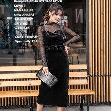 цена на 2 Pieces Dresses Black Mesh See Through Long Sleeve Ruffle Bandage Women Dress Sexy Party Pencil Velvet Spaghetti Strap Dress