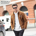 2017 Spring Men Leather Jacket Suede Leather Air Force Flight Jackets Outwear Faux Sheepskin Lining Brown