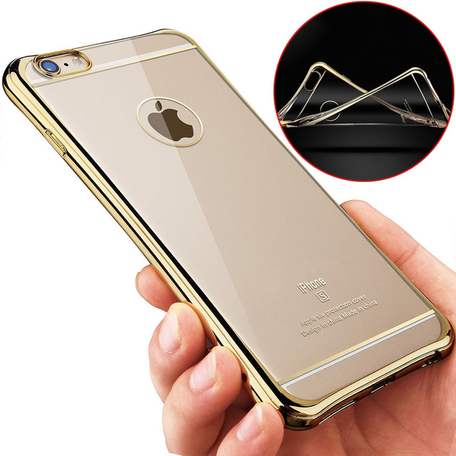 los angeles dff3d c2161 US $4.27 |Thicken + Gold Plating Bumper Coque Silicone Case For iPhone 6 S  6S iPhone6 4.7