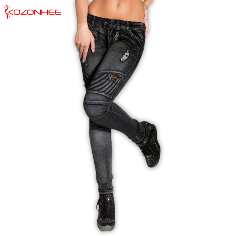 Fashion Stretch Black Skinny   Jeans   Woman Tights Elasticity Ripped   Jeans   for Women For Girls With Zipper Pencils Trousers Women