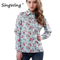 Singwing New Women Cotton Blouse Long-sleeve Printed Flowers Shirts Casual Slim Floral Blusas Femininas Camisas Roupas