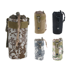 Outdoor Camping Hiking Travel Sports Water Bottle Bag Kettle Glass Drawstring Pouch for Military Climbing Camping Hiking Bags mounchain camping drawstring water bottle pouch high capacity insulated cooler bag for traveling camping hiking