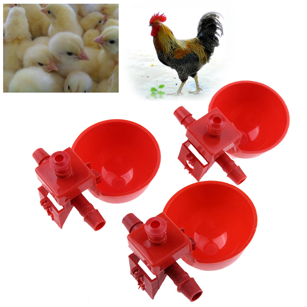 10pcs Automatic Bird Coop Feed Poultry Water Drinking Cups Poultry Water Cups Chicken Fowl Drinker Chook Drinking Bowl Red Cup ...