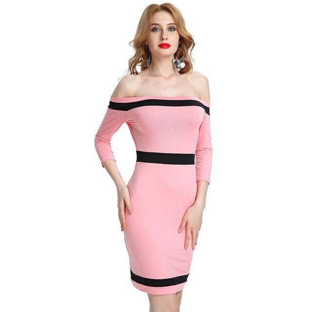 27cdca067ec Western fashion design girls Bodycon Dresses XS-2XL sexy women slim  vestidos patchwork style slash neck ladies pencil vestido