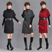 Women's Dress+tshirt+belt 3pc 2018 Spring Autumn Vintage Style New Fashion Slim Office Lady Dress Vestidos Short Sleeve Vestidos