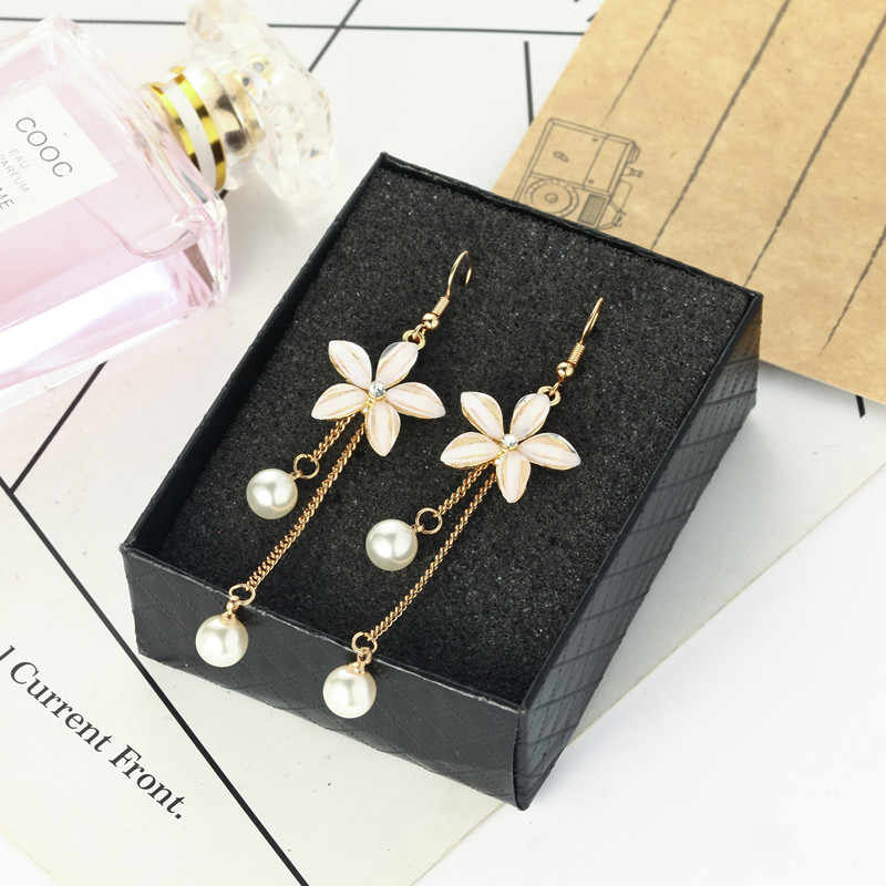 Fashionable individual character pearl eardrop flower is contracted joker pendant long earring female