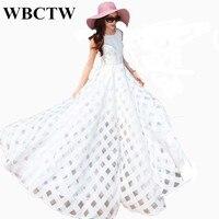 Dress Plus Size High Waist Solid White Dress Elegant Beautiful Summer Beach Dress Sleeveless Printed Women