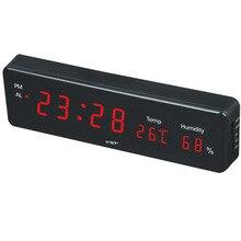 Thermometer Digital LED Alarm clock glowing desk clocks AC Power EU Plug / US Plug Table clock with Green Blue Red Color display