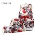 ZENBEFE Tower Pattern Women'S Backpacks Red School Bags For Teenage Girls Backpacks Cute Rucksack Schoolbag Lady Bookbags Female