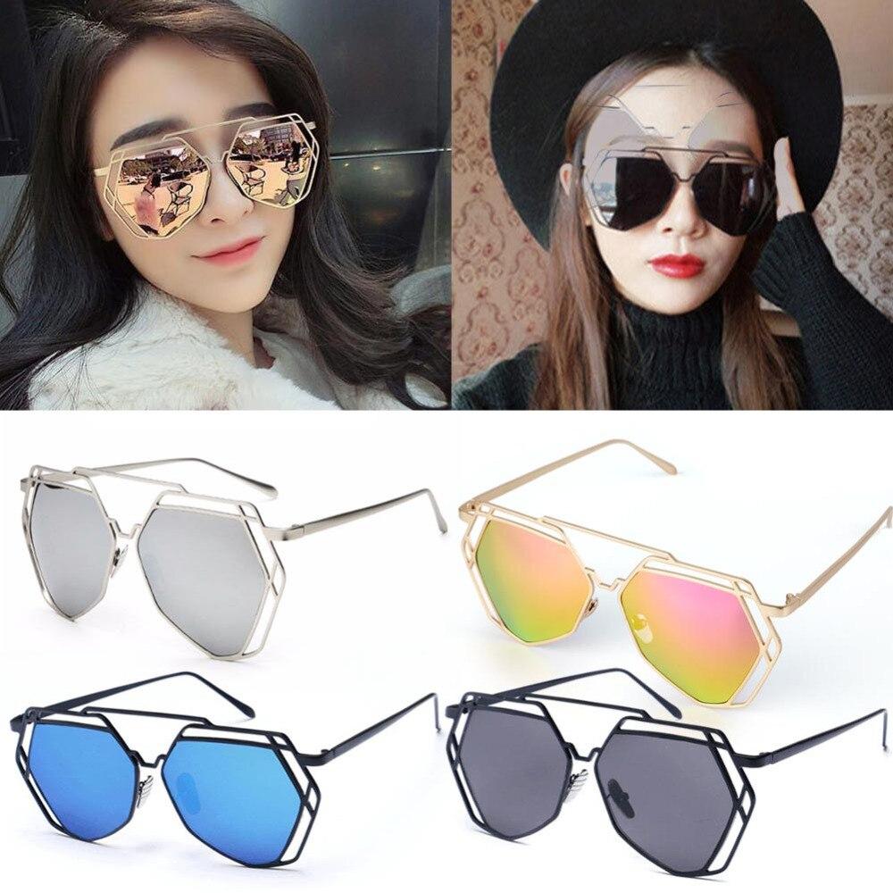 OUTEYE Brand Designer Big Mirror Sunglasses Women Hexagon Lovers Hippie  UV400 Hollow Out Sun Glasses Female Gafas shades-in Sunglasses from Apparel  ... f835efb0de