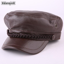 XdanqinX New Winter Mens Womens Genuine Leather Warm Hat Fashion Cowhide Army Military Hats For Men Women Brands Flat Caps