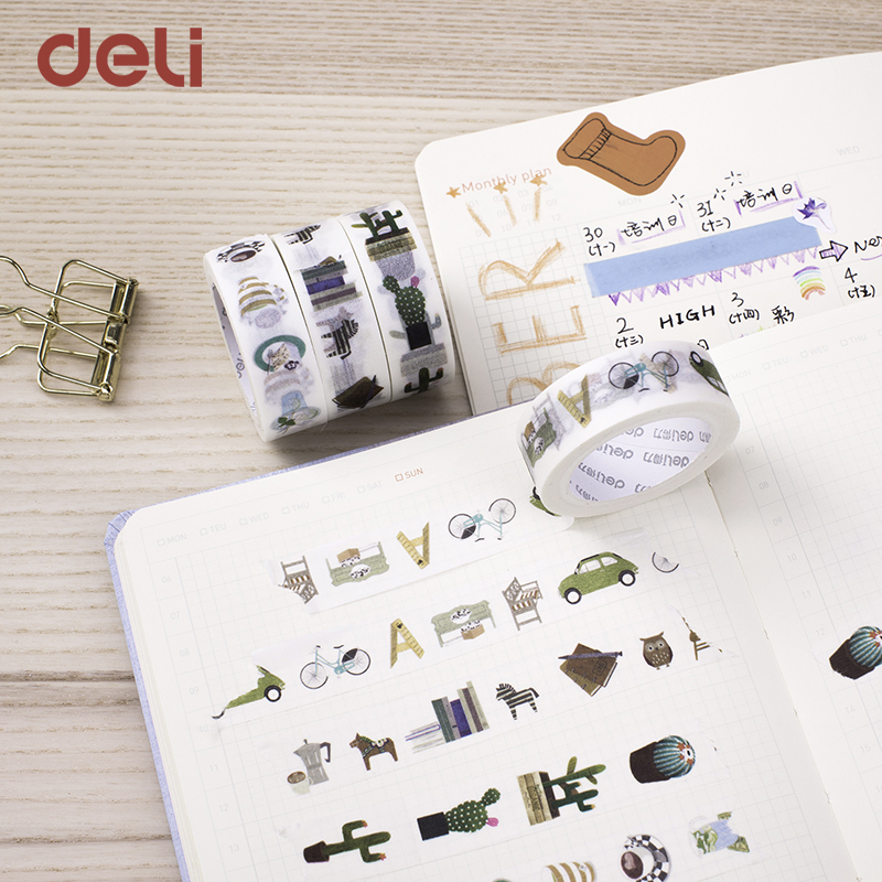 Deli wholesale 4pcs 15mm*7m cute cartoon pattern decorative adhesive scotch tapes Scrapbooking DIY Masking Japanese Washi Tape 1 5cm 7m brief style blue series decorative washi tape scotch diy scrapbooking masking craft tape school office supply