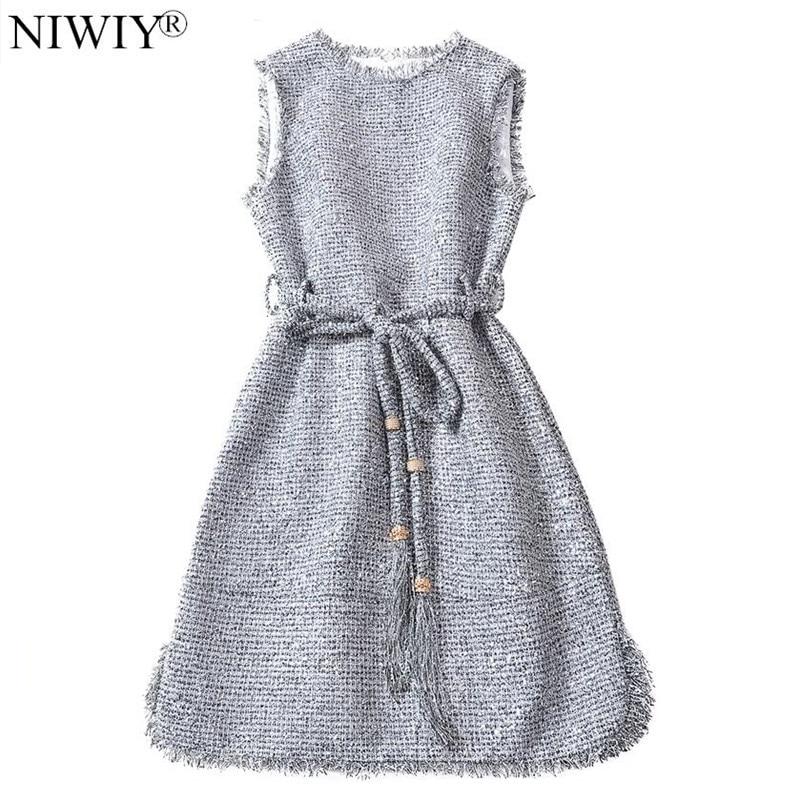 NIWIY Brand Autumn Flash Silver Women Dress Vestidos Invierno 2019 Designer Party Skater Dress Vetement Femme