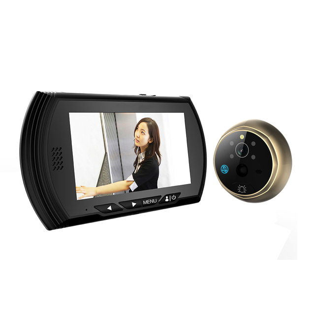 """4.3"""" TFT Black Color Digital Peephole Viewer Camera with IR Night Vision Support No Disturb & Motion Detect & PIR & Door Bell"""