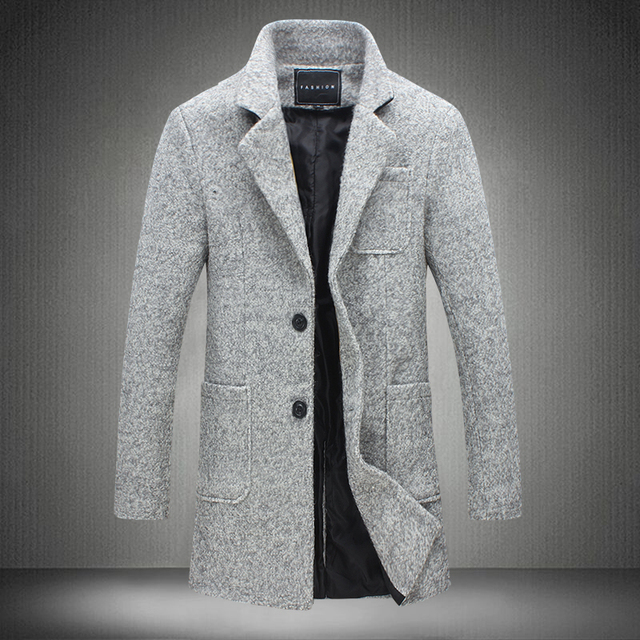 2016 Novo Inverno Longo Trench Coat Homens Windbreak Moda Mens casaco de Lã 40% Qualidade Quente Grosso Casaco de Trincheira Masculino Casacos 5XL