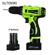 Xltown the new 25v two-speed rechargeable lithium battery electric screwdriver with 2 battery  Electric screwdriver power tool