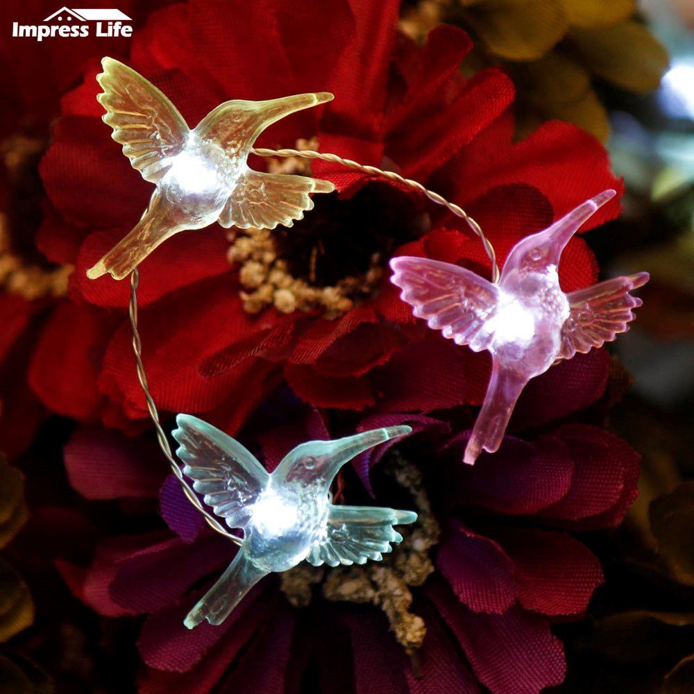 Hummingbirds String Lights 10ft 40 LED Hummer Fairy Decor Lighting Holdiday Spring Festival Wedding Decorations Indoor Outdoor