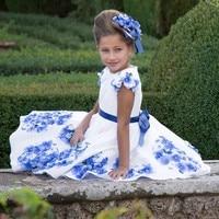 Mädchen Party und Hochzeit Kleider Sommer 2017 Marke Kinder Kleidung Prinzessin Kleid mit Schärpen Blumendruck Vestido Kinder Kostüm