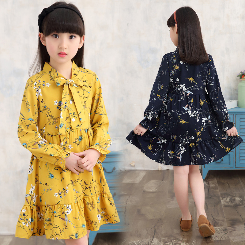 The child's 2018 new spring and summer girls dress in Floral Dress Chiffon Princess Dress все цены