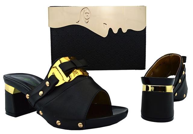 39b85bd28c2f85 2017 hohe Qualität Schwarze Afrikanische Schuhe Und Tasche Mode Blume Damen  High Heels Und Passende Tasche