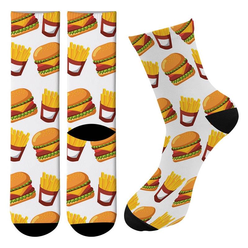New Cartoon Food Burger Men Crew   Socks   Fuuny Street Pizza Harajuku Long   Socks   Causal harajuku Trend Cycling Tube Knee   Socks