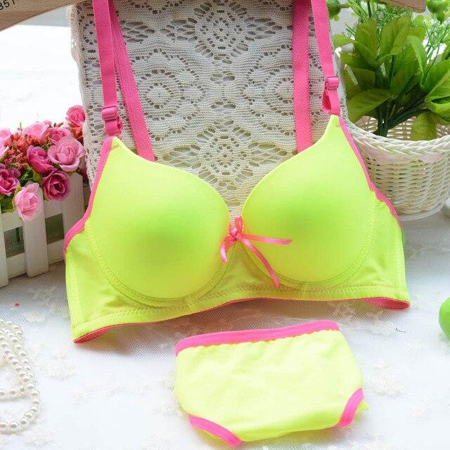 cc600c4d61d9 New arrival Lolita cotton bra set fluorescent candy color comfortable girls  underwear bra sets