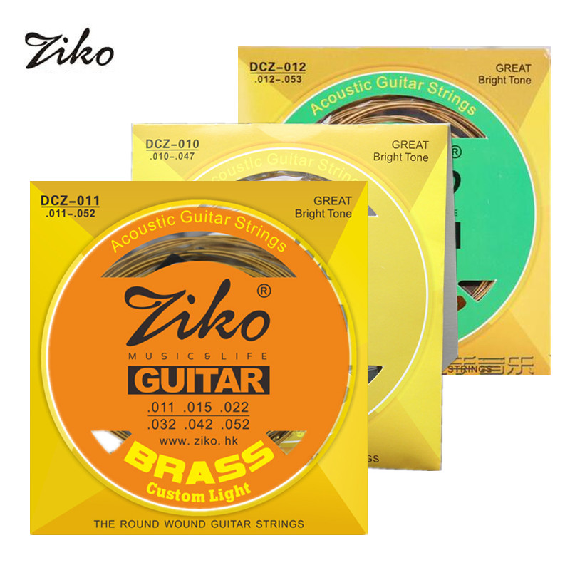 Ziko Acoustic Guitar Strings Set 010/011/012 Brass Round Wound Acoustic Guitar String DCZ 10/11/12 amola acoustic guitar strings set 010 012 011 pure copper steel 010 047 acoustic wound guitar 1 6th string musical instruments