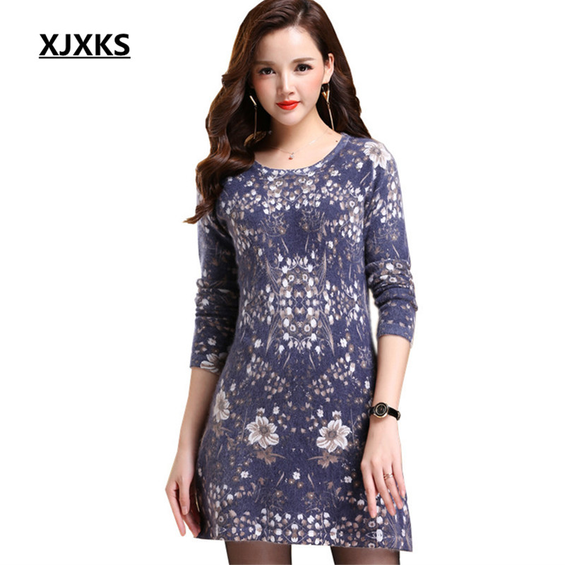 XJXKS High Quality Wool And Mink Cashmere Knitting Pullover Long Sweaters Stretch Women Beautiful Sweater Dress