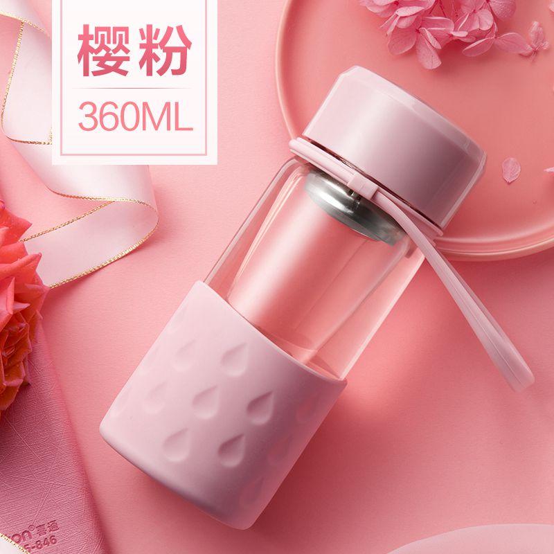 Портативная стеклянная бутылка для воды креативный Чайный фильтр колбы для офиса путешествия кофе сок силикагель рукав стеклянные колбы BPA бесплатно - Цвет: 360ml pink bottle