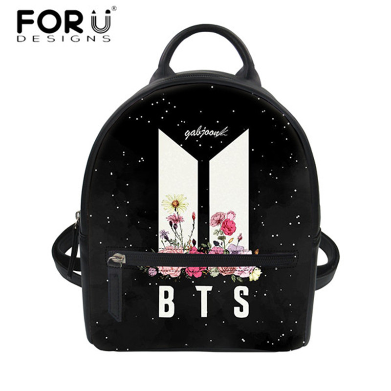 FORUDESIGNS BTS Pattern Mini Backpack Youth Girls PU Leather String Backpacks Bagpack Fashion Women's Casual Beach Rucksack 2018