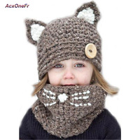 Winter Warm Baby Boys Girls Hat Scarf Sets Cute Knit Crochet Fox Cat Ear Cap Windproof