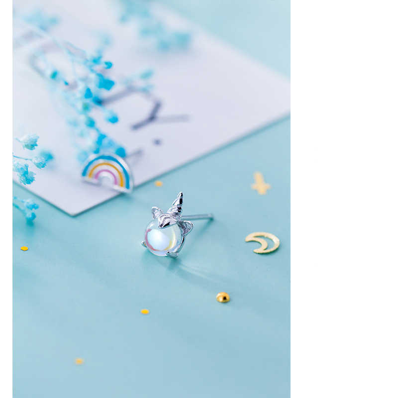 Colusiwei 925 Sterling Silver Colorful Crystal Unicorn Rainbow Stud Earrings Silver for Women & Girls Sterling-Silver-Jewelry