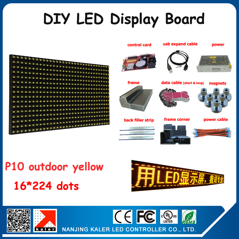 Free Shipping Moving Message Outdoor Advertising Led Display Screen Yellow P10 Diy Kits Led Screen Outdoor+ Control Card+ Power