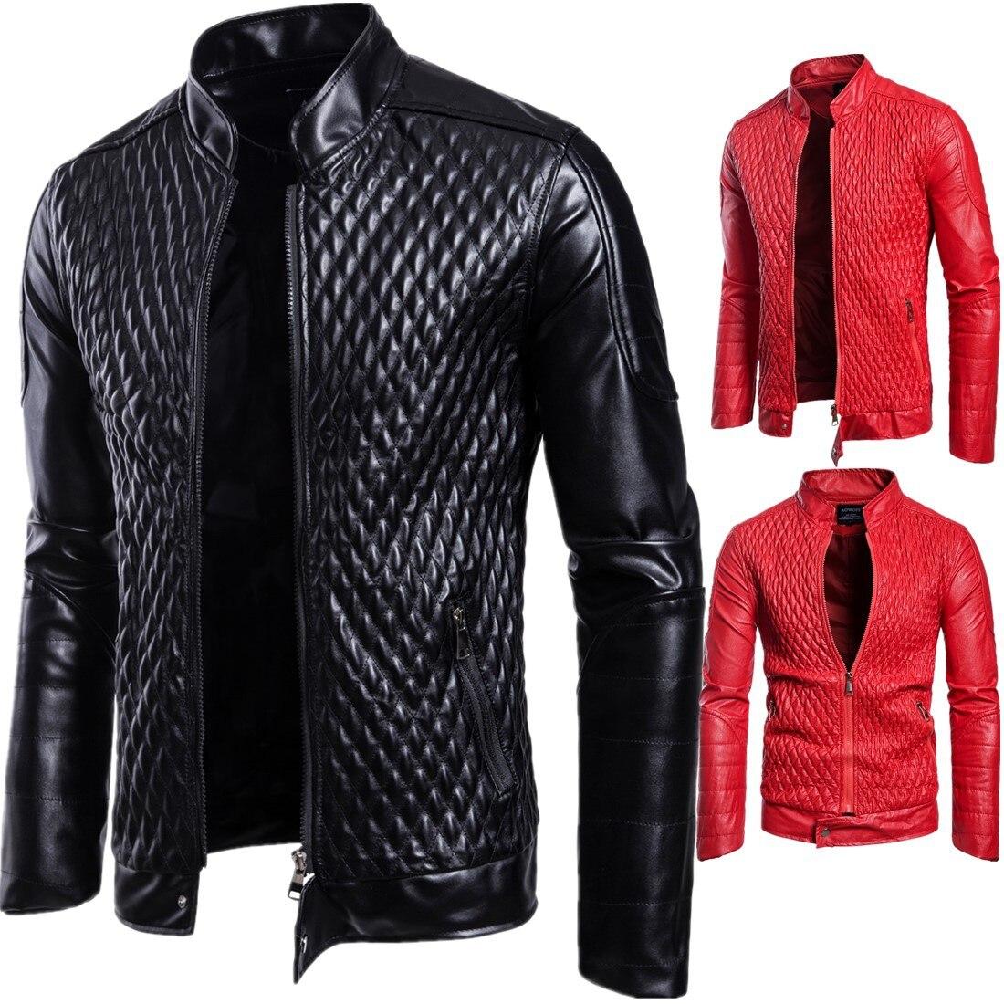 Rojo rojo Negro Hombre Negro Casual Ropa Invierno Manga Delgado Chaquetas Cuero De Los Hombres Cremallera Larga Abrigo waFqO
