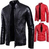 Male Winter Bomber Jackets Outerwear Faux Leather Coat Men Long Sleeve Zipper Slim Casual Warm Outwear Red Black