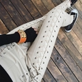 2017 Lulu Leggings Women Pants And Winter New Fashion Ladies High-end Custom Personalized Cross-strap Import Washed Pu Leather