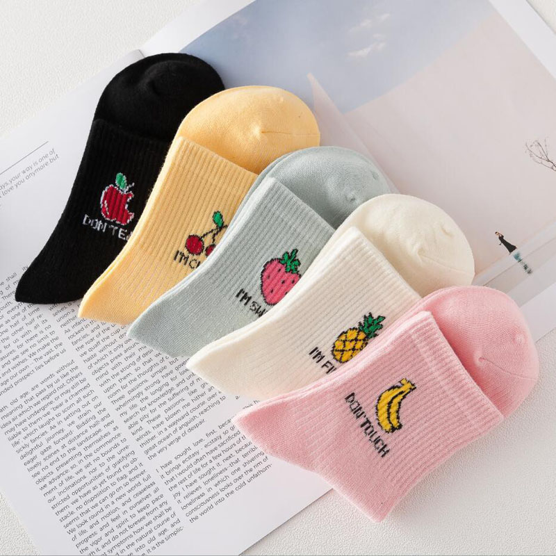 IOLPR Harajuku Cotton   Socks   Women Funny   Socks   Fruit Apple/Banana Pattern Meias Candy Color   Socks   Cotton Art Happy Sox