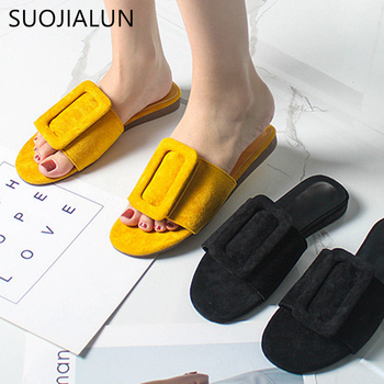 SUOJIALUN Women Luxury Brand 2019 New Summer Slippers Fashion Buckle Ladies Slides Outdoor Sandal Beach Flip Flops Shoes